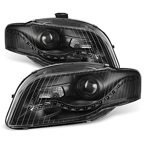 ACANII - For Blk 2006-2008 Audi A4 S4 B7 [R8 Style]LED DRL Halogen Type Projector Headlights Driver + Passenger Side Audi A4 Convertible Price