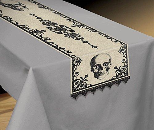 Amscan Eerie Boneyard Halloween Party Skull Table Runner Decoration, Multicolor, 72