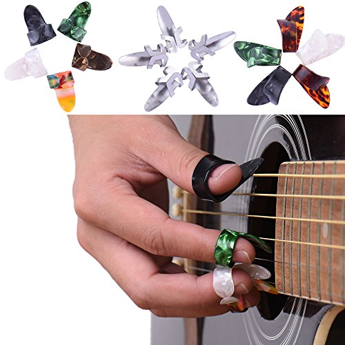 15pcs Stainless Steel Celluloid Thumb Finger Guitar Picks with Case - 4
