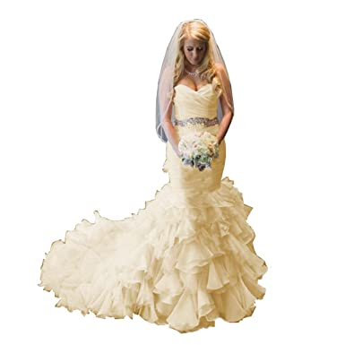 f776f0e09c9a1b Amazon.com: Momabridal Womens Long Mermaid Organza Wedding Dresses  Cascading Layers Ruched Bridal Ball Gowns with Train: Clothing