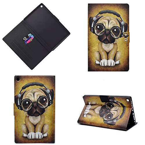 Uliking Folio Case for Amazon Kindle Fire HD 8 Tablet (7th Gen, 2017 & 6th Gen, 2016), Slim Lightweight PU Leather [Card Holder] Stand TPU Protective Cover with Auto Wake/Sleep, Music Shar Pei Dog -