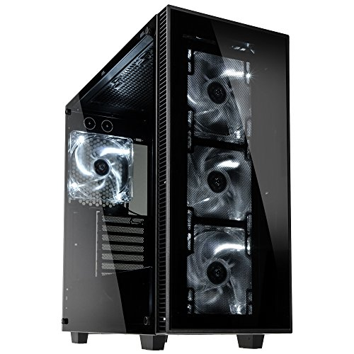 anidees AI-Crystal Midi-Tower, Tempered Glass - schwarz