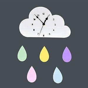 Bestroyal Kids Wall Clock Silent Non Ticking Wooden Raindrops Cloud Wall Decor Clock, Baby Nursery Decor Playroom Decor, Battery Operated