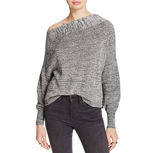 Free People Womens Alana Linen Heathered Sweater Gray M (Free People Wool Sweater)