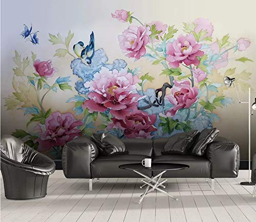 (Photo Wallpaper 3D Chinese Peony Butterfly Painting Plate Background Wall Wallpaper Custom Living Room Lobby Studio Mural,60Cm (H) X 80Cm (W))
