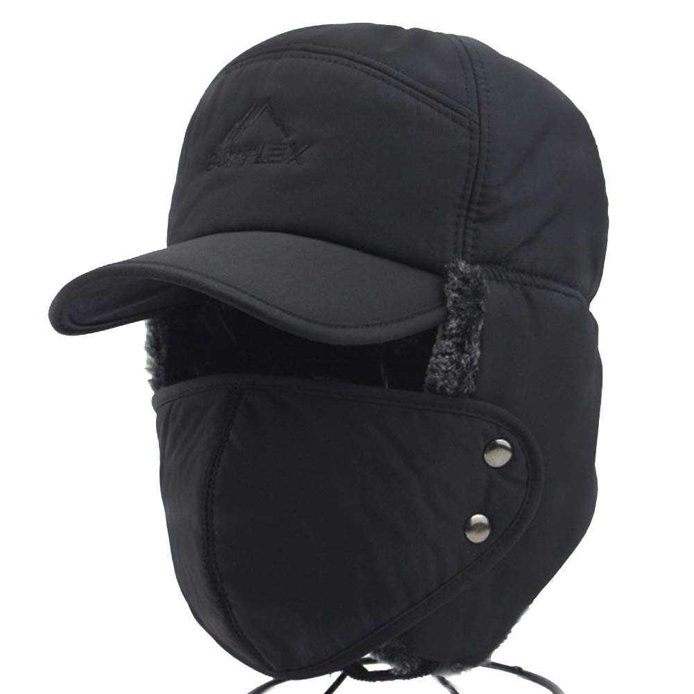 Greenery-GRE Winter 3 in 1 Thermal Fur Lined Trapper Bomber Hat with Ear Flap Full Face Mask Neck Warmer Windproof Insulated Baseball Cap Cycling Motorcycle Snow Ski Hat Headwear (Black) by Greenery-GRE