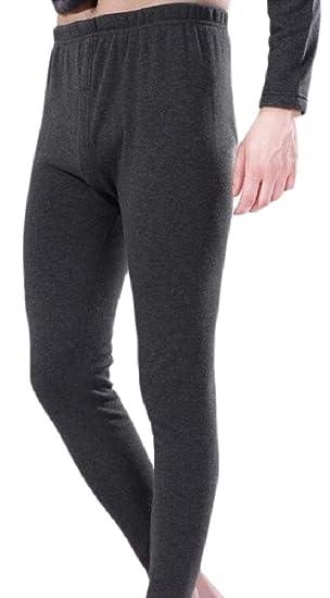 bdc93e7cd1704 YIhujiuben Men's Fleece Lined Long Johns Simple Thermal Pants Thick Long  Underwear at Amazon Men's Clothing store: