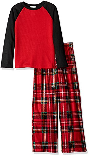 Komar Kids Boys' Big 2 Piece Thermal Pajama Set, Red Plaid, X-Small