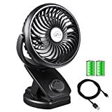 Clip on Fan with Rechargeable Battery Operated&USB Desk Fan,Adjustable Speeds,4400mAh Battery/USB Powered Fan Mini Portable Personal Fan for Baby Stroller, Car, Gym, Office, Outdoor, Travel, Camping