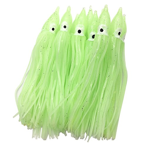 wild.life Luminous Hoochie Octopus Skirts Trolling Lures Soft Plastic Lures Fishing Squid Skirts Saltwater/Bait Lures Color Length Optional (Green/Luminous, 4.7in/22pack)