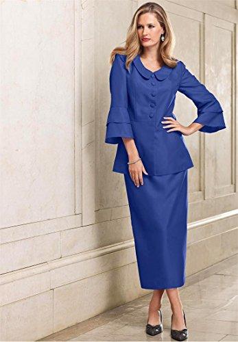 Roamans Women's Plus Size Tiered Sleeve Skirtsuit