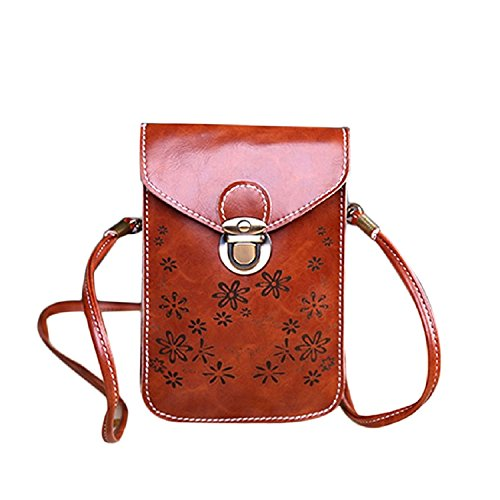 New Envelope style Shoulder Diagonal Brown Bag Mini Fashion Purse Retro Mobile Malloom® Phone dw4nE6qd