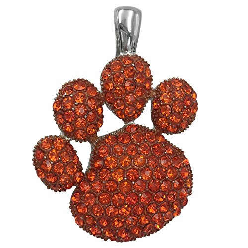 Gypsy Jewels Large Paw Print School Spirit Mascot Silver Tone Rhinestone Pendant for Necklace- Assorted colors (Orange)