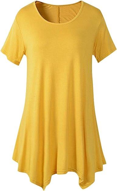 FAMILIZO Camisetas Mujer Verano Blusa Mujer Elegante Camisetas Mujer Largas Manga Corta Algodón Camisetas Mujer Fiesta Camisetas Originales Camisetas Mujer Blancas Tallas Grandes: Amazon.es: Ropa y accesorios