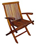 Blue Star Group Terrace Mates Folding Arm Chair Set, Natural Wood Stain, Set of 2