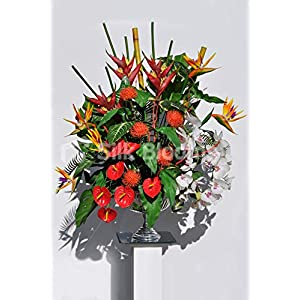 Silk Blooms Ltd Artificial Red Anthurium and Bird of Paradise Vase Arrangement w/Pincushion Proteas and White Orchids