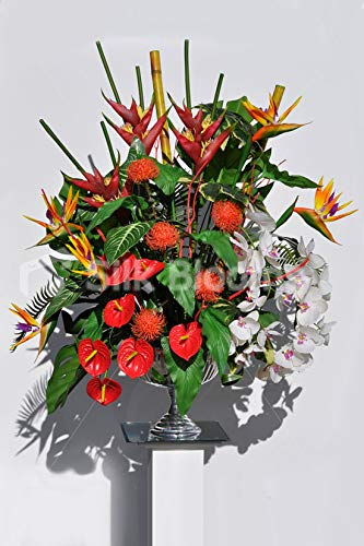 Silk-Blooms-Ltd-Artificial-Red-Anthurium-and-Bird-of-Paradise-Vase-Arrangement-wPincushion-Proteas-and-White-Orchids