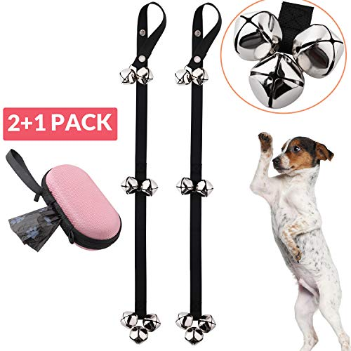 Roysili Dog Door Bell 2 Pack Dog Training Bells for Door Adjustable Potty Bells with 7 Extra Loud Bells for Training Housebreaking Black (with Free Bonus Poop Bag Holder)