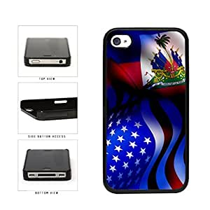 Haiti and USA Mixed Flag Plastic Phone Case Back Cover Apple iPhone 4 4s