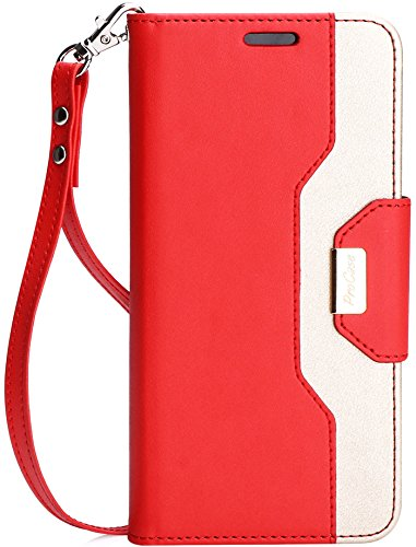 ProCase Galaxy S8 Plus Wallet Case, Flip Kickstand Case with Card Slots Mirror Wristlet, Folding Stand Protective Cover for Galaxy S8+ 2017 -Red