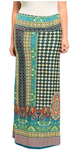 Une Hippie jupe/robe à motif cachemire. Taille haute, Très élastique, longueur de plancher.