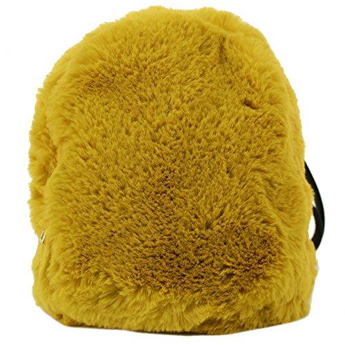 CC Faux Fur Furry Mini Backpack Daypack School Shoulder Bag Handbag Purse Mustard