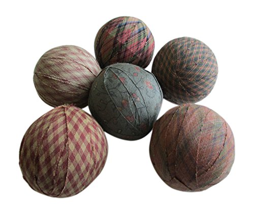 From The Attic Crafts Rag Balls Primitive Bowl Fillers Green Red Micro Checks and Ditsy Floral Print 2.5'' diameter Set of 6 by From The Attic Crafts