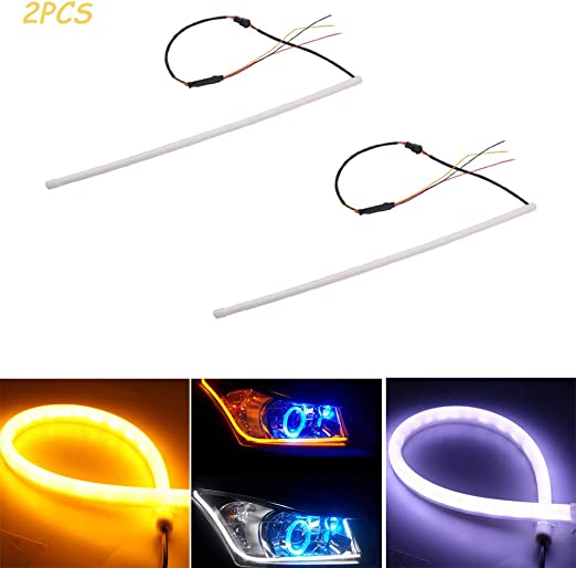 UNHO 2PCS Bande de Feux Voitures 60cm 6W Headlight Tube LED Strip Light DRL Flexible Switchback Phare Imperm/éable Feux Diurne LED de couleur Blanc et Jaune 6000K 7000K
