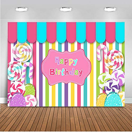Mocsicka Candy Girl Birthday Backdrop 7x5ft Vinyl Candy Shop Colorful Stripes Happy Birthday Banner for Girl Sweet Shoppe Dessert Table Patisserie Photography Background Search Term:sweet shoppe candy ()