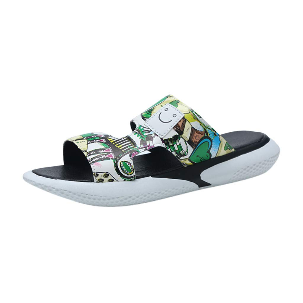 Men Beach Slide Sandals - Fashion Trend Personality Graffiti Street Wild Casual Quick Drying Slippers for Shower/Pool/Garden