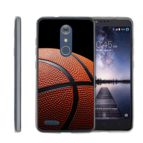TurtleArmor | ZTE ZMax Pro Case | ZTE Blade X Max Case | ZTE Carry [Flexible Armor] Resistant Slim Fit Flexible TPU Case Soft Bumper Cover Sports and Games Design - Basketball Seams - Basketball Case Pack
