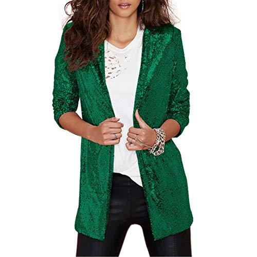 VERO VIVA Women's Sparkly Sequin Open Front Jacket Coats Long Sleeve Midi Blazer(XXL,Green) -
