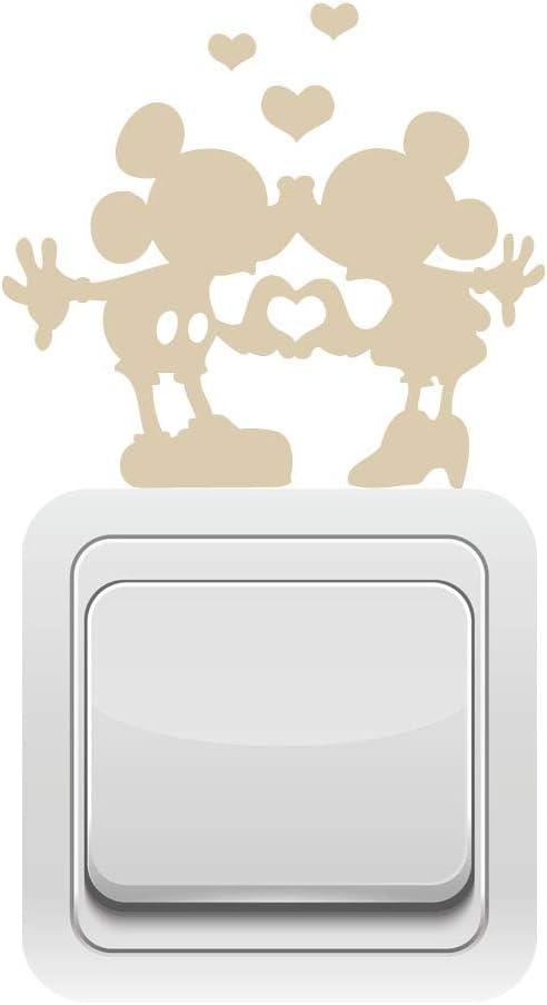 Sticker Interrupteur en d/écoupe Kiss Mikey Dimensions 11 Cm x 10 Cm Noir Mat
