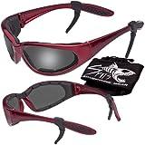 Hercules Safety Glasses ''Plus'' - Foam Padded - Rubber Ear Locks - RED Frame - GREY Flash Mirror Lenses