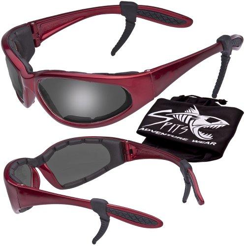 Hercules Safety Glasses ''Plus'' - Foam Padded - Rubber Ear Locks - RED Frame - GREY Flash Mirror Lenses by Spits Eyewear