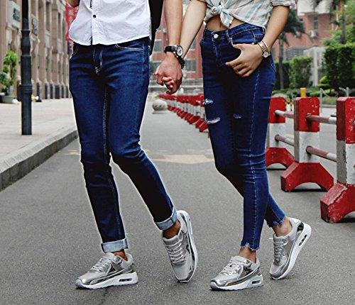 Plata Primavera Bright EU Casuales Otoño Amortiguación Amantes Air Malla Cushion Deportivos de Size Zapatos Zapatillas Hombres Viaje Zapatos Mujeres Zapatos New Surface de wxCRaqXBvv