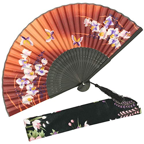 OMyTea Hand Held Silk Folding Fans with Bamboo Frame - with a Fabric Sleeve for Protection for Gifts - 100% Handmade Oriental Chinese/Japanese Vintage Retro Style - for Women Ladys Girls (WZS-23)