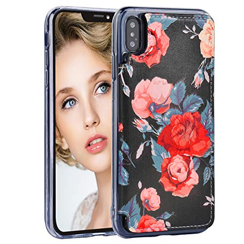 iPhone XS Max Case,iPhone XS Max Wallet Case,MISSCASE Premium Leather Case with Card Holder,Magnetic Closure,Flower Floral Flip Case for  iPhone XS Max 2018 Red