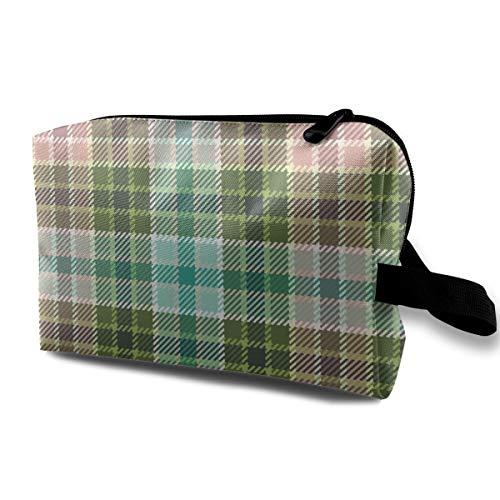 04058129 Tartan Oolong_20567Travel CarryZippered Wash Bag VacationWaterproof Womens GirlsDark Blue