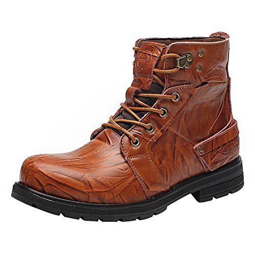 Shenn Men's Work Space Stylish Ankle High Wear-Resistant Split Leather Combat&Motorcycle Boots