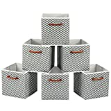 MaidMAX Cloth Storage Bins Cubes Baskets Containers with Wooden Handle for Home Closet Bedroom Drawers Organizers, Foldable, Gray Chevron, Set of 6