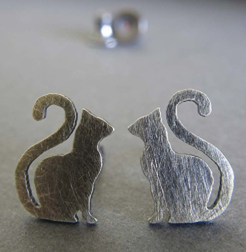 Cat stud earrings. Antiqued sterling silver kitty with long tail post jewelry. Handmade in the (Antiqued Cat)