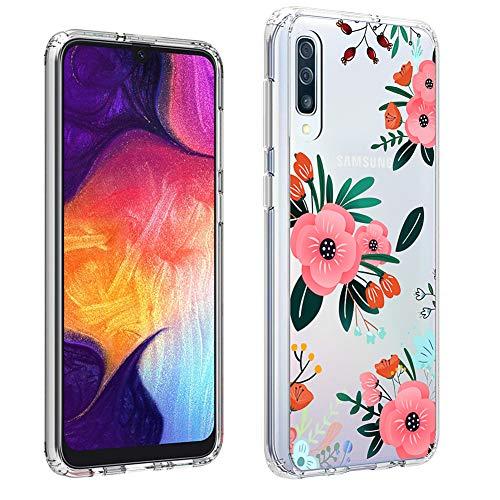 "Galaxy A50 2019 Case Floral, AIMUHO Hard PC+ Soft TPU Air Cushion Shockproof Bumper Cover Ultra Thin Slim Fit Crystal Clear Case for Samsung Galaxy A50 6.4"""