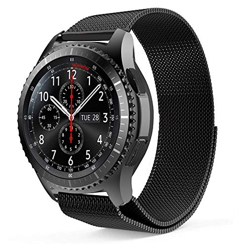 ProCase Replacement Band for Galaxy Watch (46mm) / Gear S3 Frontier/Gear S3 Classic Smartwatch, Adjustable Wristbands Bracelet Strap for Women Men -Black, Small
