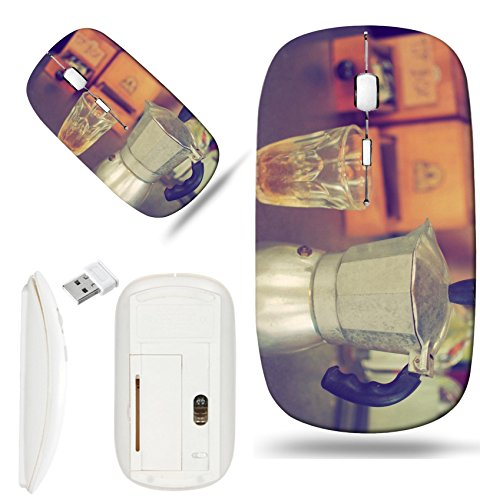 Luxlady Wireless Mouse White Base Travel 2.4G Wireless Mice with USB Receiver, 1000 DPI for notebook, pc, laptop,mac design IMAGE ID: 34010862 coffee maker espresso machine on the table wood vintage c