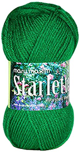 Solid Yarn Grass - Mary Maxim Starlette Yarn - Green Grass - 100% Ultra Soft Premium Acrylic Yarn for Knitting and Crocheting - 4 Medium Worsted Weight