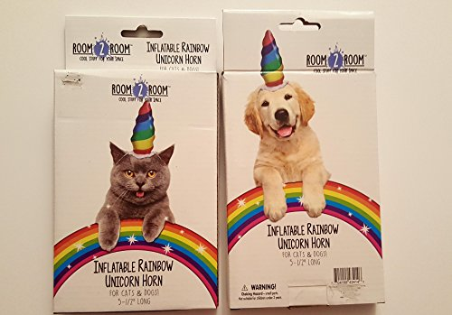 Inflatable Rainbow Unicorn Horn for Cats & Dogs