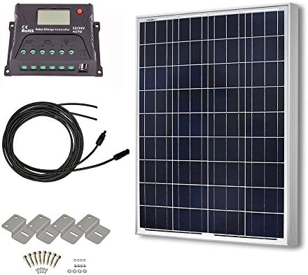 HQST 100 Watt 12 Volt Polycrystalline Solar Panel Kit with 20A PWM LCD Common Postive Solar Charge Controller, 20Ft 12AWG Solar Cable, Z-Brackets