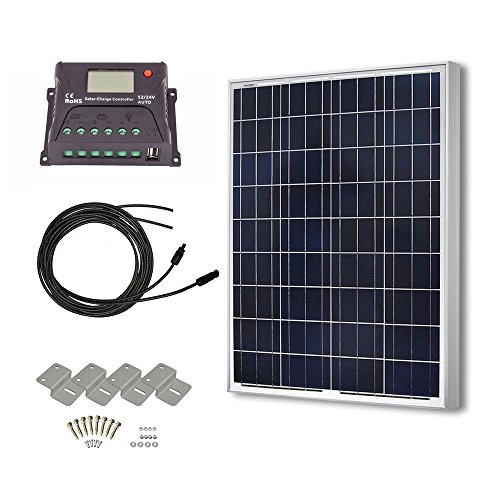 HQST 100 Watt 12 Volt Polycrystalline Solar Panel Kit with 10A PWM LCD Display Charge Controller