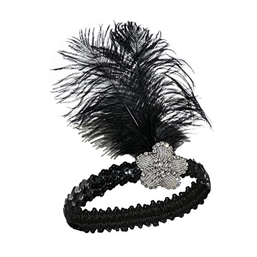 Metme Vintage Feather Sliver Headpiece Flapper Costumes Headband White / (Flapper Costumes Makeup)